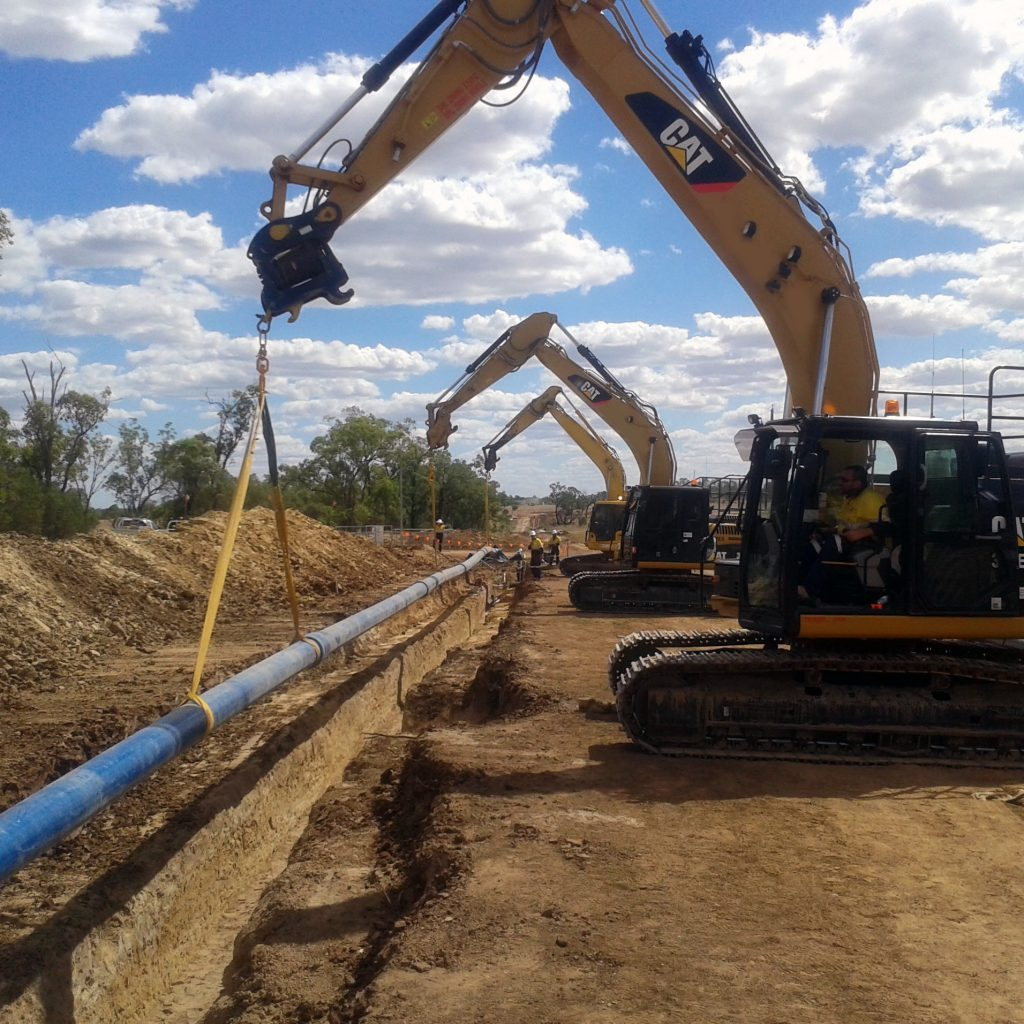 Basetec Services GRP FRP pipeline trench install